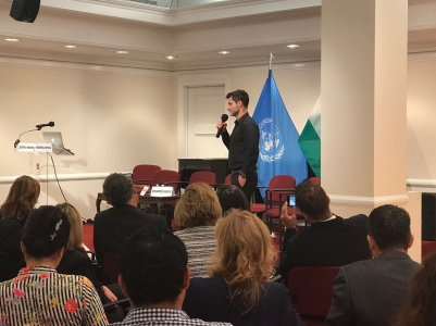 Ambassador Raff DeGruttola gives a speech at the UN
